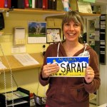 "Sarah at Bonanza Gold RV and Campground was given a ""GO SARAH"" license plate -- which she now regrets owning."