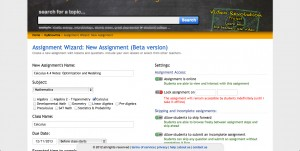 The top of the assignment wizard page - this is where you choose how to set up your assignment.