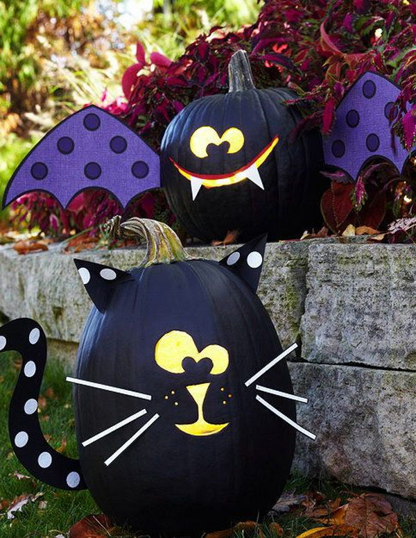 50  Kid Friendly No Carve Pumpkin Decorating Ideas   Hative DIY Black Bat and Black Cat Pumpkins