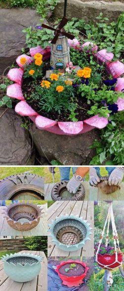 Artistic Upcycled Tire Fairy Garden Diy Fairy Garden Ideas Hative Inexpensive Garden Fairies