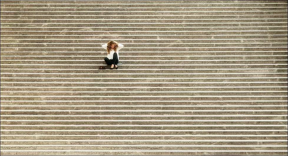 sur l'escalier du Palais de Chaillot, Trocadéro. Paris 2013