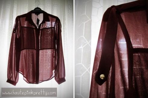 TopShop Burgundy Chiffon Shirt