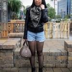 Buffalo Jeans Scarf + Leather Moto Jacket + Vintage Levi's + NYLA Boots
