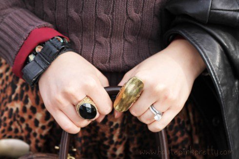 An Dyer in TopShop Burgundy Chiffon Blouse, American Apparel Brown Cable Knit Pull Over, DKNY Leather Bomber Jacket, Zara Leopard Skirt, Forever 21 Black Stone Ring, JCPenney Decree Gold Shield Ring, H&M Bow Bracelet & Tacori Platinum Engagement Ring
