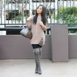 Taupe Chunky Oversized Cable Knit Sweater + Grey Suede OTK Boots + Makeup info!