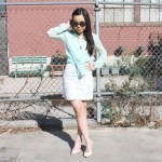 Zara Mint Green Blouse + H&M Floral Dress + Prada Baroque Sunglasses