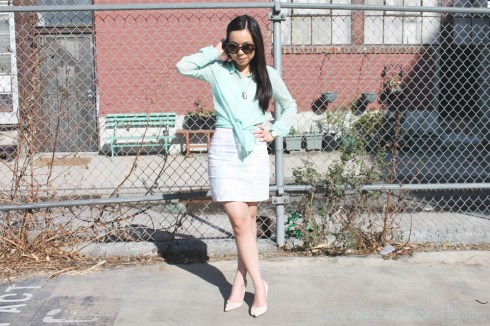 An Dyer in Zara Mint Green Dotted Swiss Shirt Blouse, H&amp;M Floral Dress and Blush Pink Bow Bracelet, Guess by Marciano Blush Pink Bow Pump, Marc Jacob Mini Padlock Set Necklace, Prada Black Horn Camel Baroque Runway SS11 Round Sunglasses, Louis Vuitton Damier Azur Saleya Gm, Michael Kors Mother of Pearl Chronograph Watch, Forever 21 Cocktail Rings