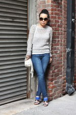 Old Navy Sea Salt Crochet Sweater | Levi's The Legging Skinny Jeans | Glint &amp; Gleam Flight Take Off Ring | Marc Jacob Wishbone Necklace and Latin Rings | Zara Blue Combined Heeled Sandal | Mellie Bianco Studded Fringe Bag | Prada Baroque Round Two Toned Sunglasses