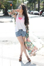 www.HautePinkPretty.com - An Dyer wearing Zara tie-dye high slit maxi printed dress, Forever 21 Gold Dome Ring, Gold Mustache Necklace and Elasticized Mineral Wash Denim Shorts, Jessica Simpson Dany in Coffee Summer Haze, The Rail Mirrored Aviator Sunglasses, Glint &amp; Gleam Pink Beautiful Braid Chain Bracelet Pink, Coral Glistening Stone Bracelet, Gold Straight Arrow Skinny Cuff, Delicate Cross Bracelet, Stretched Sideways Cross Necklace c/o ShopLately, Marc Jacob Gold Heart Locket Necklace, Michael Kors Parker Leather Chronograph Watch