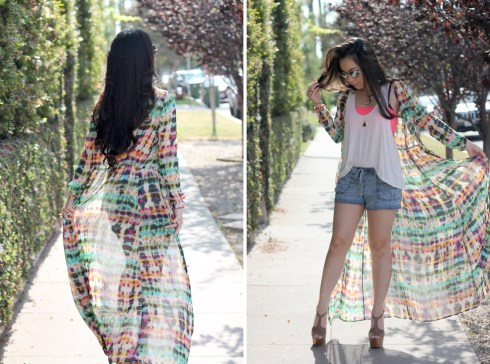 www.HautePinkPretty.com - An Dyer wearing Zara tie-dye high slit maxi printed dress, Forever 21 Gold Dome Ring, Gold Mustache Necklace and Elasticized Mineral Wash Denim Shorts, Jessica Simpson Dany in Coffee Summer Haze, The Rail Mirrored Aviator Sunglasses, Glint & Gleam Pink Beautiful Braid Chain Bracelet Pink, Coral Glistening Stone Bracelet, Gold Straight Arrow Skinny Cuff, Delicate Cross Bracelet, Stretched Sideways Cross Necklace c/o ShopLately, Marc Jacob Gold Heart Locket Necklace, Michael Kors Parker Leather Chronograph Watch
