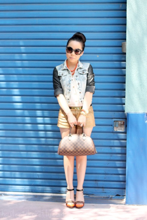 www.HautePinkPretty.com - An Dyer TopShop Cream Chiffon Side Tuck Blouse, Zara Leather Acid Denim Combined Jacket,Forever 21 Gold Metallic Shorts, ASOS Smile Skinny Waist Belt, SoleSociety Val Sandals, Seen Global Lola Kenya Necklace, Prada Baroque Round Sunglasses, Louis Vuitton Damier Ribera Mm, Glint & Gleam Sideways Cross Shambala Bracelet from ShopLately, Michael Kors Parker Leather Chronograph Watch, Zaza Boutique Gold Pyramid Stud Bracelet