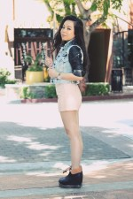 www.HautePinkPretty.com - An Dyer wearing Zara Leather Denim Combined Sleeve Jacket, Forever 21 Tee, Rhinestoned Stud Bracelet, and Beaded Faux Leather Shorts, Marc Jacob Latin Rings, TopShop Silver Mesh Collar Bib Chain Link Peter Pan Necklace, Jeffrey Campbell Back Off Boots