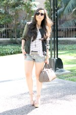 www.HautePinkPretty.com - An Dyer wearing Zara Combined Sleeve Jacket Military Green Camo Leather, Celine Paris Aviator Sunglasses, H&amp;M Striped Trapeze Tank, Forever 21 Silver Metallic Shorts, Silver Spiked Bracelet, Nordstrom Pewter Crystal Rhinstone Belt, Decree Hinged Wrap Ring, BCBGeneration Lee Flatforms in Nude Patent leather, Michael Kors Mother of Pearl Chronograph Watch