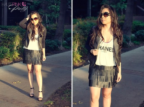 www.HautePinkPretty.com - An Dyer wearing Honeydew Purple Camellia Bralette, 2b Lexi Zip Moto Jacket in Black Gold, Zara Fringe Leather Skirt, United Couture Chanel Loves Me Tank, Prada Baroque Round Sunglasses, Forever 21 Cross Necklace ShopLately Glint & Gleam Delicate Danger Spike Bangle
