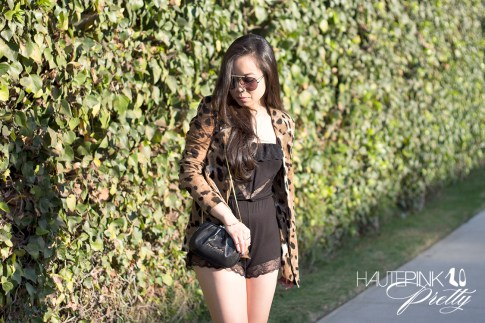 www.HautePinkPretty.com - An Dyer wearing Celine SC1489 Black Aviator Sunglasses, Eberjy Fanny Teddy, ShopWasteland Animal Cheetah Jaguar Print Jacket, Love Moschino Clutch Bag, Sole Society Rumor Boots and Glint &amp; Gleam Sideways cross necklace, arrow bracelet and gold bar two finger ring c/o ShopLately