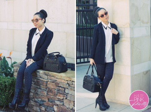 www.HautePinkPretty.com - An Dyer wearing Gulshachereli Blazer Jacket, Sugarlips Apparel Tuxedo Sam Top, YMI Jeans Leopard Print Skinny Jeans, THEIT Studded Black Bossi Bag, Celine Pink Blush Audrey Sunglasses, Vera Wang Lavender Label Fiona Boots, H&M Gold Collar Necklace, Glint & Gleam Bracelets & Rings c/o ShopLatley