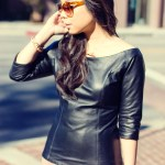www.HautePinkPretty.com - An Dyer wearing Virginie Villette La Sage Leather Top, Cuore and Pelle Caterina Purse, Jessica Simpson Collection Essas Burgundy Belluci Boots, Glint &amp; Gleam Rose Gold Jewelry from ShopLately, Elizabeth &amp; James Lafayette Sunglasses, Worthington Rose Tights