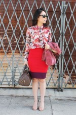 an-dyer-in-staring-at-stars-chiffon-shirt-express-color-block-pencil-skirt-sam-edelman-lorissa-nude-leather-rayban-new-wayfarer-matte-black-louis-vuitton-ribera-mm-papaya-cranberry
