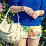 www.HautePinkPretty.com - An Dyer wearing American Apparel Fisherman&#039;s Pullover, Allison Chomer Tropics Shorts, Sole Society Francesca in Stucco, Cuore &amp; Pelle Tonia Bag, Glint &amp; Gleam Sleek With Texture Collar Necklace, Get Cuffed Leatherette Cuff, Gilded Art Bangle Set, Prada Baroque Sunglasses