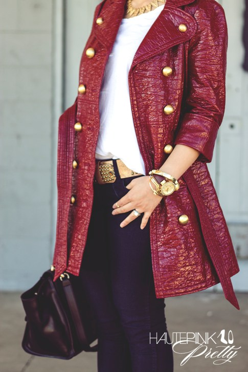 An Dyer wearing Juicy Couture Well Coiffed Belted Trench Coat, Michael Stars Tee, Bleulab Jeans, Elizabeth &amp; James Lafayette Sunglasses, Cuore &amp; Pelle Caterina Trapeze Bag, ShopLately Glint &amp; Gleam Jewelry