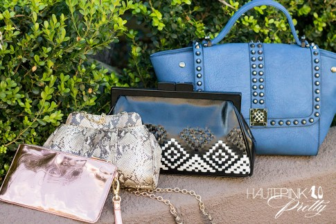 HautePinkPretty roadtoMAGIC What I'm Packing for Vegas - George Gina Lucy Small Truc Clutch Tante Peach Flash, Koret Handbags Python Print Clutch & Woven Aztec Neo Framed Clutch, Melie Bianco Villette Blue