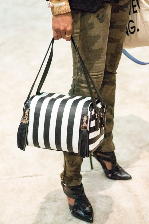 roadtoMAGIC Melie Bianco Black &amp; White Striped Box Bag