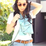Celine Sunglasses + PLNDR Mint Fringe Studded Bag