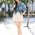 Jessica Simpson Terrii Platforms + Forever 21 Denim Shirt + Chiffon Star Anchor Shorts
