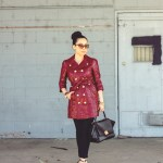 Juicy Couture Trench Coat + Cuore & Pelle Caterina Bag + Michael Stars Tee + Sole Society Margie Pumps