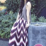 Line & Dot Sunburst Pleat Maxi Skirt