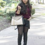 Publik Oxblood Sweater + Forever 21 Faux Leather Shorts + Aldo OTK Boots