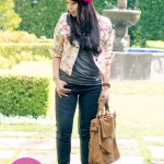 Kristin Perry Turban + Tulle Floral Jacket + Olivia & Joy Tote + Julianne Hough x Sole Society Angela Peeptoe Boots
