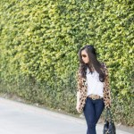 Vaunt Leopard Etched Aviators + Leopard Blazer + Glint & Gleam Shining Identity Jewelry + ShoeMint Garbo Pumps