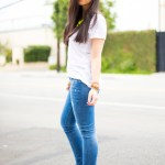Kim & Zozi Bracelets + ShoeDazzle Jaleen Pumps + Rich & Skinny Jeans + ShopLately Neon Necklace