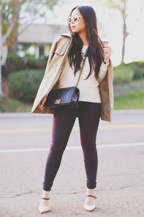 An Dyer wearing Express Trench Coat and Amaze Sweater, Chanel Boy Bag, CJ by Cookie Johnson Jeans, Shoedazzle