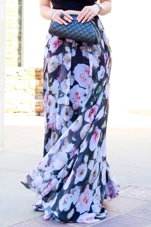 An Dyer wearing Fame and Partners Rose Floral Two Piece with Chanel Kisslock Caviar SHW Clutch