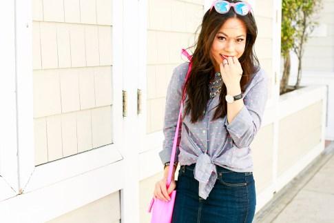 An Dyer wearing Splendid Shoreside Dot Shirt, Schaffer LA Pink Mini Bucket Bag