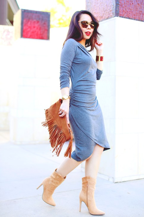 An Dyer wearing JustFab Grey Ruched Dress, Fringe Clutch, Cowboy boots