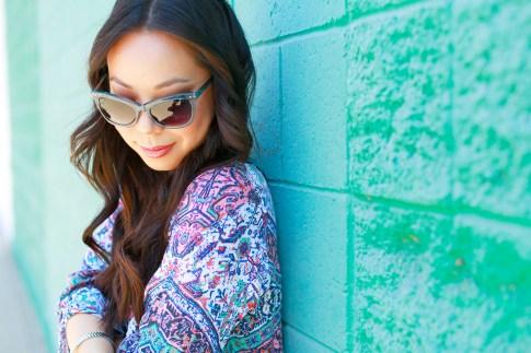 An Dyer wearing Marilyn Eyewear Blue Sunglasses