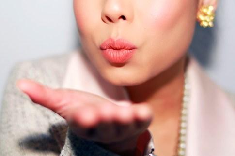 An Dyer wearing Ulta Beauty Matte Liquid Lipstick Tender Peach