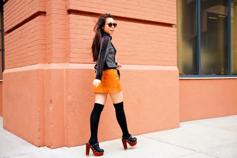 An Dyer NYFW Street Style SS16 Chelsea Suede Mini Skirt OTK socks clog platforms
