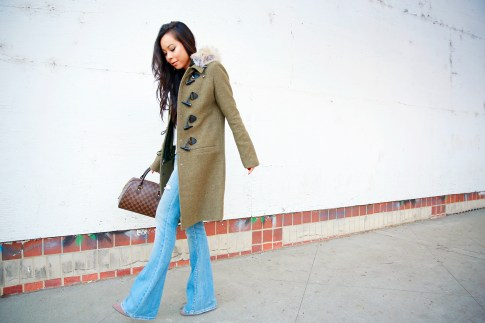 An Dyer wearing Bishop Young Tank, Dawn Levy Waverly Green Coat, Louis Vuitton Ribera Mm Damier, Aeropostale Light Wash Flare Jeans