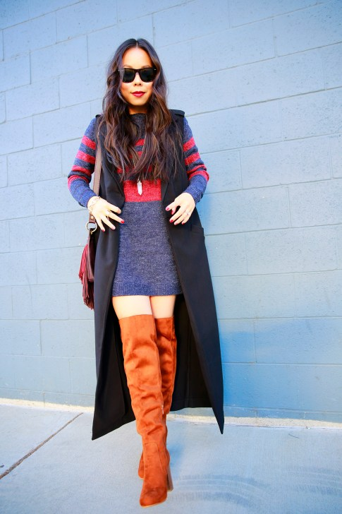 An Dyer wearing Black Duster Vest Coat JustFab Sweater Dress Cognac Over The Knee Boots