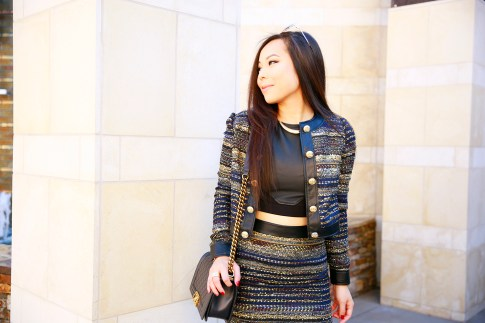 An Dyer wearing Guess Marciano MIZELL JACKET and Mini SKIRT