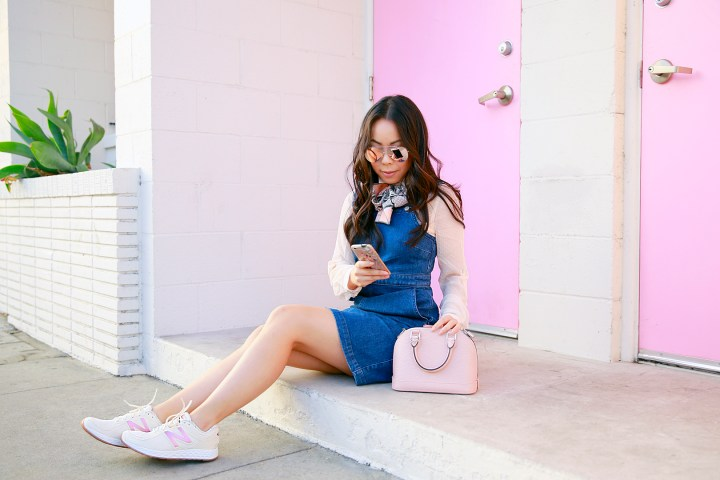 an-dyer-wearing-madewell-denim-overalls-hillview-dress-with-louis-vuitton-alma-bb-magnolia-pink-and-new-balance-wlzantv2