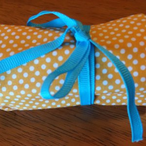 Orange Polka Dot Crayon Roll Up