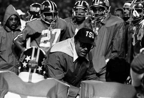 Coach Gilliam with Tennessee State University Foootball players in 1980