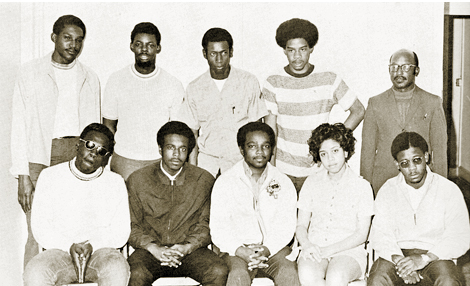 Richard Gibson, Jr.-Editor, seated (bottom center) with The Blaze staff, FAMUliterary magazine.