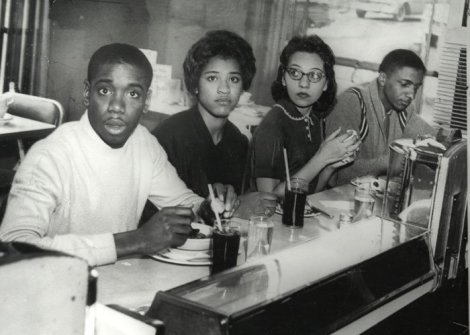 College students Matthew Walker, Peggy Alexander, Diane Nash and Stanley Hemphill eat lunch in Nashville's Greyhound Bus terminal, marking the first time that African Americans were served at previously segregated counters. (Photo courtesy of PBS)