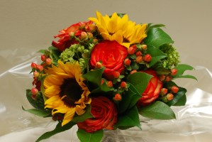 Sunflower and rose wedding bouquet